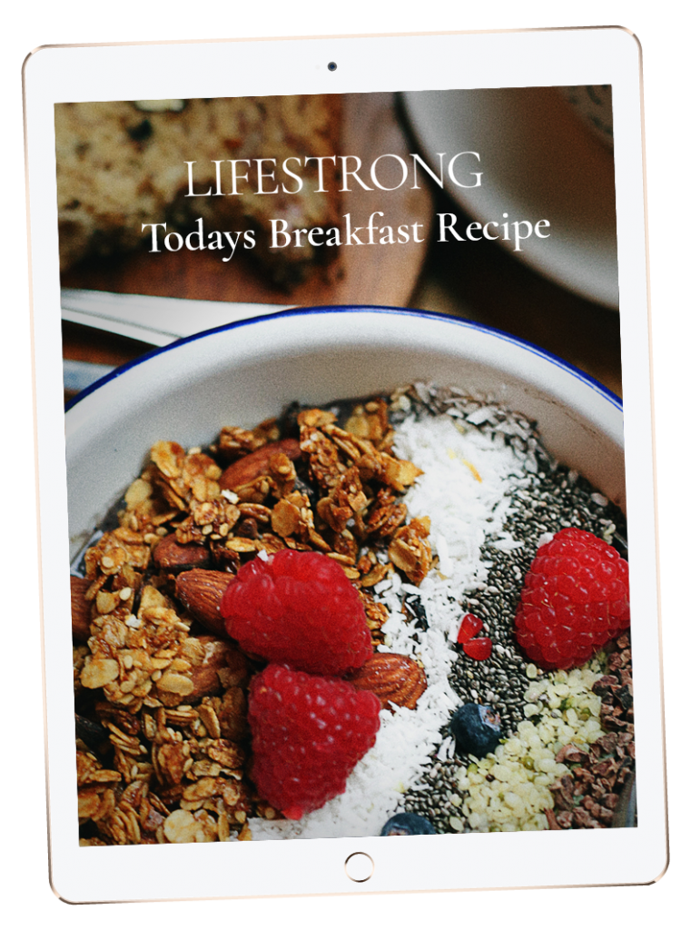 Lifestrong newsletter with a recipe for granola